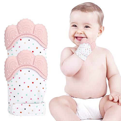 E-More Handschuh Baby Beißhandschuh 2er Pack Silikon Beißringhandschuh in Lebensmittelqualität 100% Polyester für Babys Beißspielzeug Beruhigende Schmerzlinderung Mitt Stimulierende Beißringhandschuhe