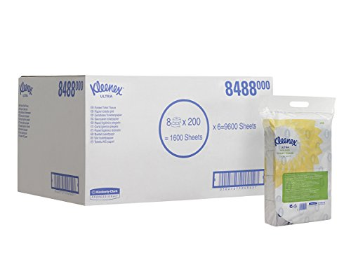 Kleenex Ultra 8488 Einzelblatt-Toilettenpapier, 2-lagige, 48 Packungen x 200 Blatt, weiß