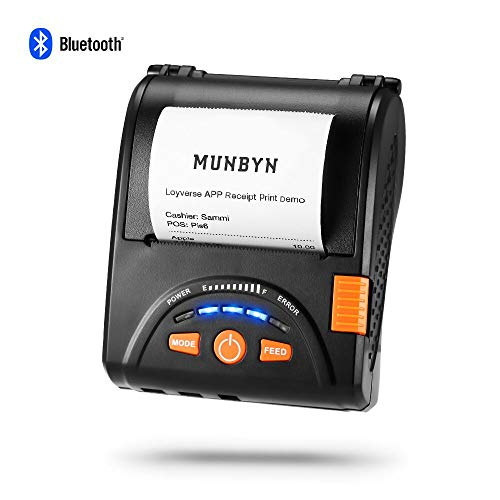 Android Bluetooth Mobile Thermal Receipt Printer, MUNBYN 2 Inches 58MM Impresora térmica Printer with Leather Belt for Business ESC/POS, Does NOT Support iOS Devices,Square