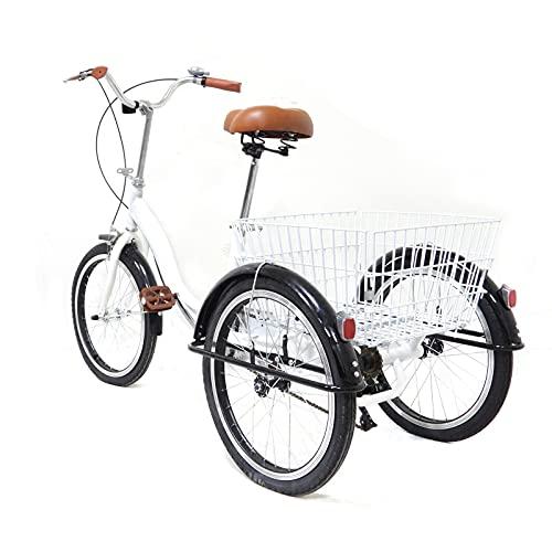 Futchoy Triciclo para adultos de 20 pulgadas, altura regulable con cesta trasera, caseta de una sola velocidad, deportes al aire libre