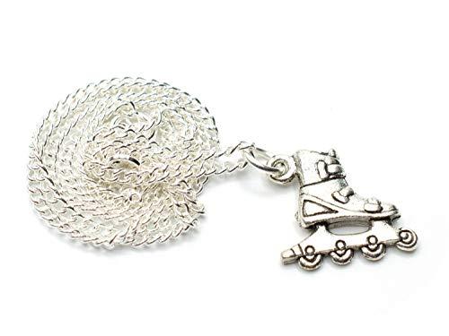 Miniblings Rollerskates Inliner Kette 45cm Inlineskates Rollschuhe Silber - Handmade Modeschmuck - Gliederkette versilbert