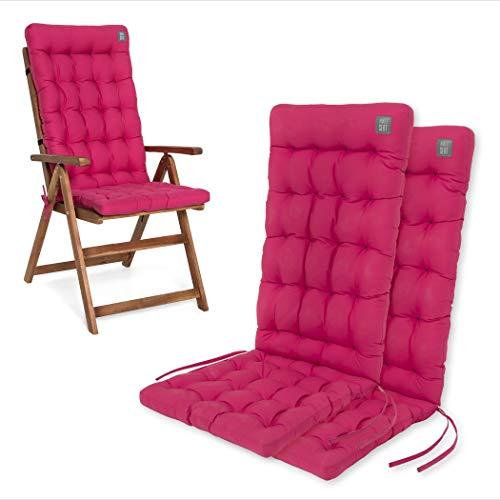 HAVE A SEAT Luxury | Gartenstuhlauflagen - Bequeme Hochlehner Polster Auflage, waschbar bei 95°C, Trockner geeignet, Sitzauflage für Gartenstuhl (2er Set - 120x48x8 cm, Hot-Pink)