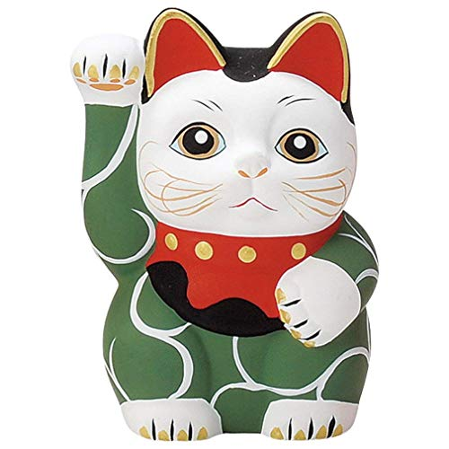 Matsumoto Shoji L2025 - Figura de Maneki Neko Fortune Cat (13,5 cm, Hecha a Mano), Color Verde