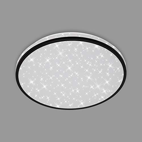 Briloner Leuchten - LED Deckenleuchte, Deckenlampe inkl. Sternendekor, 24 Watt, 2.200 Lumen, 4.000 Kelvin, Weiß-Schwarz, Ø 38cm, 3456-215