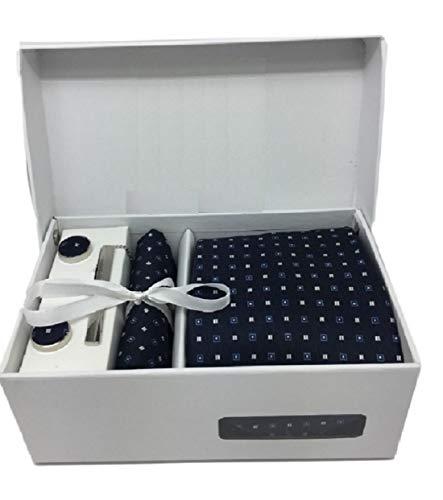 Ducomi Gentleman - Raffinato Cofanetto Coordinato Uomo Composto da Cravatta, Gemelli, Fermacravatta e Fazzoletto da Taschino - Elegante e Classico Regalo (Expertise)