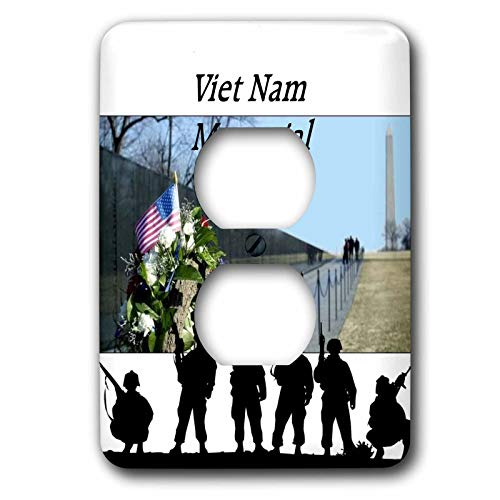 3dRose lens Art by Florene - Memorial Day - Image of Viet Nam Memorial With Silhouette Soldiers - 2 plug outlet cover (lsp_309798_6)