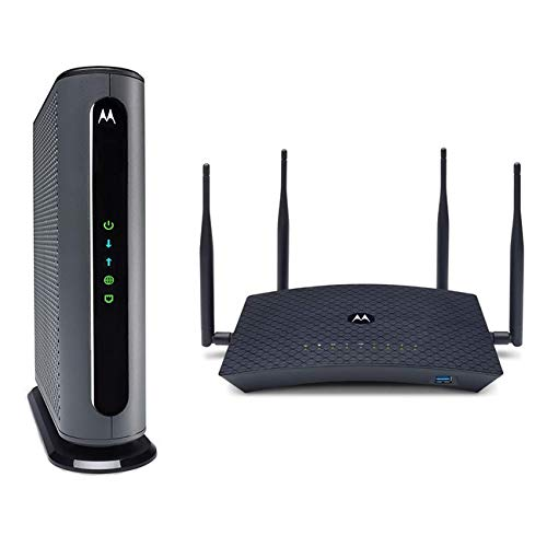 Motorola MB8600 Cable Modem + AC2200 Smart Wi-Fi Router with Extended Range | Top Tier Internet Speeds | Approved for Comcast Xfinity, Cox, and More – Separate Modem and Router Bundle