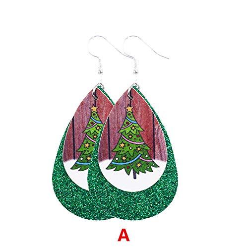 Pendientes navideños, pendientes en forma de gota, pendientes de cuero estampados a doble cara, de moda y versátiles.