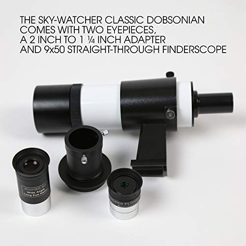 Sky Watcher Classic 200 Dobsonian 8-inch Aperature Telescope – Solid-Tube – Simple, Traditional Design – Easy to Use, Perfect for Beginners, White (S11610)