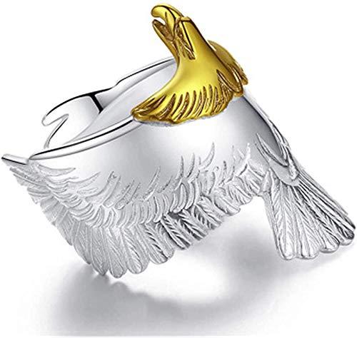 Whale city Anillo de águila de Plata Anillo de Cabeza de águila de Color Dorado Abierto de tamaño Ajustable, Anillo de águila de Plata Vintage de Acero Inoxidable para Hombres