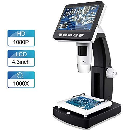 DOOK Microscopio Digital 2.0 MP 50-1000X, Lupa de Aumento de 4.3 Pulgadas, Pantalla LCD, 8 ledes, Brillo Ajustable para teléfono móvil, Industrial, inspección QC, con Soporte de aleación de Aluminio