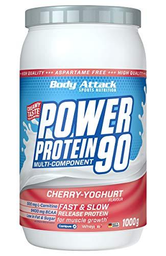 Body Attack Power Protein 90, Cherry-Yoghurt Cream, 1 kg, 5K Eiweißpulver mit Whey-Protein, L-Carnitin und BCAA für Muskelaufbau und Fitness