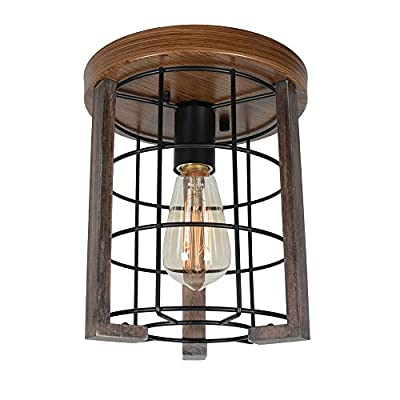 Baiwaiz Round Farmhouse Flush Mount Ceiling Light Fixture, Metal and Wood Rustic Ceiling Lighting Black Industrial Wire Cage Light 3 Lights Edison E26 086