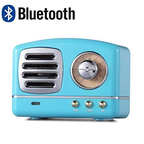 Lychee Vintage Altavoz Bluetooth Inalámbrico Retro Subwoofer Estéreo Subwoofer Portátil Mini Caja de Sonido Soporte TF AUX Reproducción de Música Manos Libres con Micrófono (Azul)