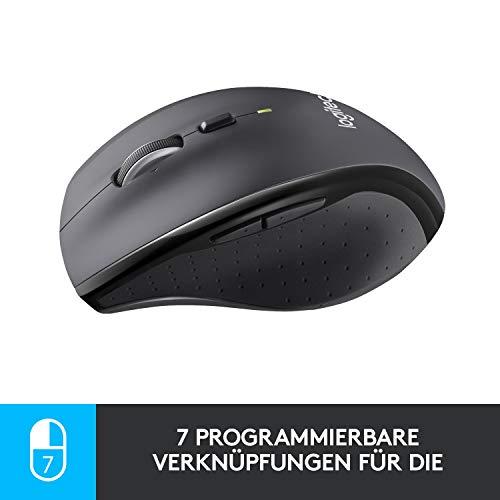 Logitech M705 Marathon Kabellose Maus, Umweltfreundliche-Verpackung, 2.4 GHz Verbindung via Unifying USB-Empfänger, 1000 DPI Laser-Sensor, 3-Jahre Akkulaufzeit, 7 Tasten, PC/Mac – Grau - 4