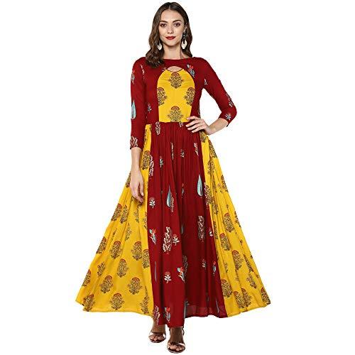 Indian Virasat Women's Rayon Regular Anarkali Kurta (Ivk53