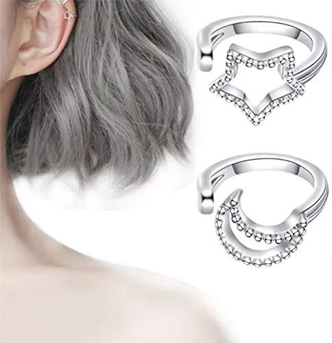 Aeromdale Metal Ear Clips Pendientes Punk Cuff Moda Piercing Falso Cartílago Hoop Stud Ear Puffs - # 15 Silver (Star + Moon)