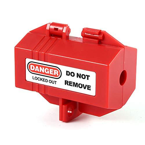 POFET Bloqueo de enchufe rojo Tagout 51 x 51 x 89 mm/2 x 3.5 pulgadas Dispositivo de bloqueo de enchufe para enchufes de 110 V