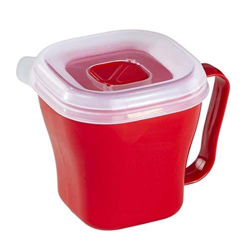 Xavax Mikrowellen-Tasse luftdicht verschließbar mit Deckel (mikrowellengeeigneter Becher ideal zum Zubereiten von Suppen, Soßen, warmen Getränken uvm, To-Go Behälter spülmaschinenfest, 0,6 l) Rot