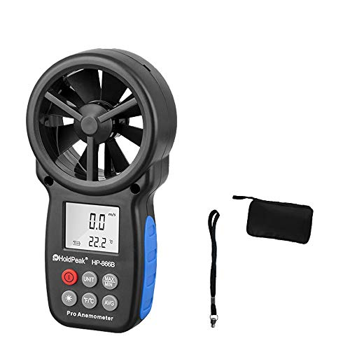 WSMLA Anemometer Large mit Auto nach Mobile zur Messung und Aufzeichnung Windgeschwindigkeit Temperatur Gefühlt Digital-Anemometer Multifunktions-Thermometer Handhochpräzise Anemometer