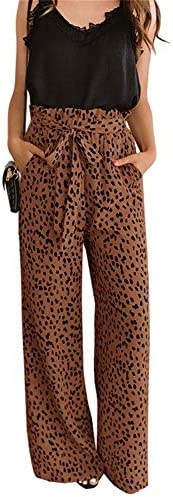 chimikeey Womens High Waisted Leopard Print Palazzo Pants Belted Wide Leg Long Trousers with product image