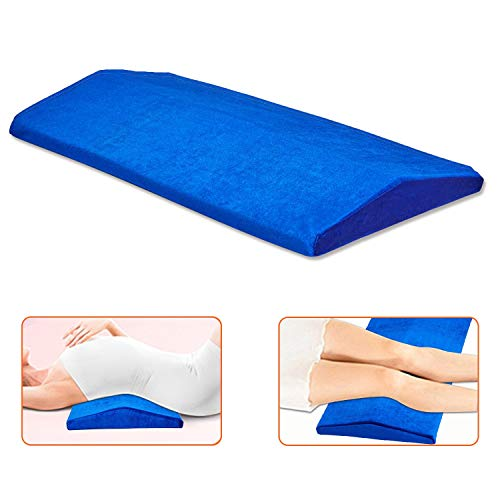 Gel Cooling Lumbar Support Pillow for Sleeping Memory Foam Pillow for Back Pain Relief – Side, Back and Stomach Sleepers– Triangle Wedge Bolster Pillow – with Heat Dissipating Gel & Washable Cover