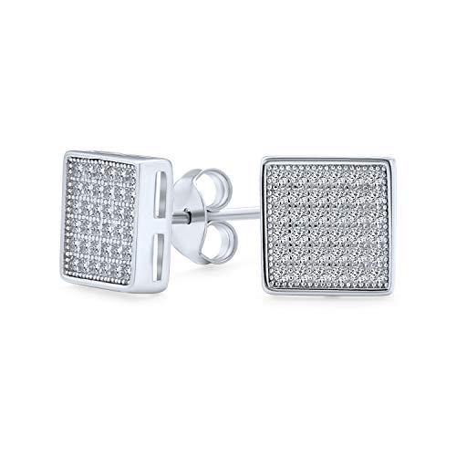 Geométrico cuadrado en forma de zirconia micro pave CZ pendientes para hombres para mujeres 925 plata de ley 8MM