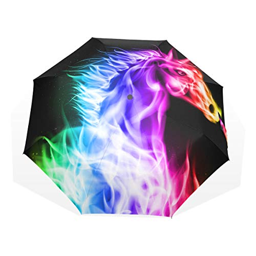 ISAOA Paraguas de Viaje automático, Paraguas Plegable, Unicornio en Arco Iris Abstracto, Resistente al Viento, Ultra Ligero, protección UV, asa compacta para fácil Transporte para Mujeres y Hombres