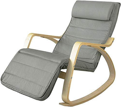 Haotian FST16-DG,Comfortable Relax Rocking Chair with Foot Rest,Lounge Chair, (Gray)