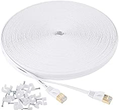 Jadaol Cat 7 Ethernet Cable 100 ft Shielded, Solid Flat Internet Network Computer patch cord, faster than Cat5e/cat6 network, Slim Long durable High Speed RJ45 Lan Wire for Router, Modem, Xbox – White