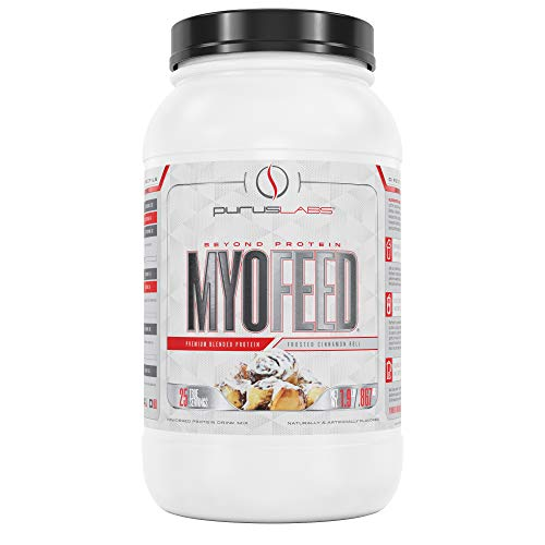 Purus Labs Myofeed Cinnamon Roll | Tri-Blended Protein, Whey Concentrate, Casein, and Isolate | 25 Servings (1.9 Pounds)