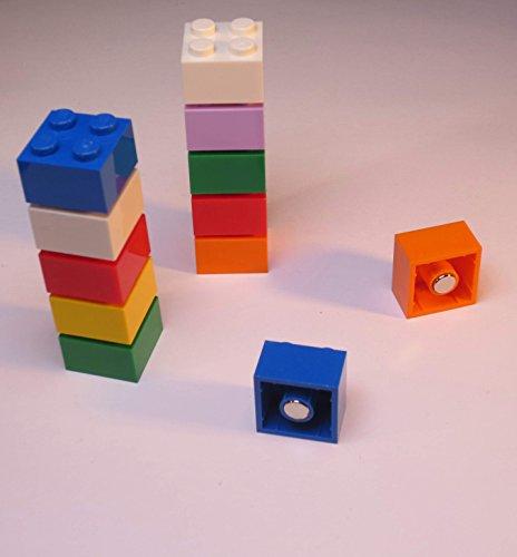 Magnetbausteine für Anzeigetafeln/Kühlschränke, kompatibel mit LEGO Neodym-Magnete, mehrfarbig, 10er-Pack