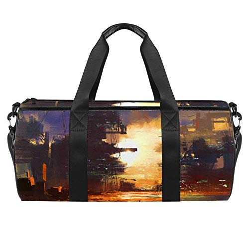 TIZORAX Sci-Fi City At SunsetGym Duffel Sports Bags Canvas Travel Bag with Waterproof Pocket