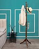 Wooden Coat Rack Stand, Rustic Hall Tree Coat Tree Entryway Coat Hanger with 10 Hooks, Top of Rack- 360 Degree Adjustable, for Coat, Hat, Clothes, Scarves, Handbags, Umbrella (Dark Brown)