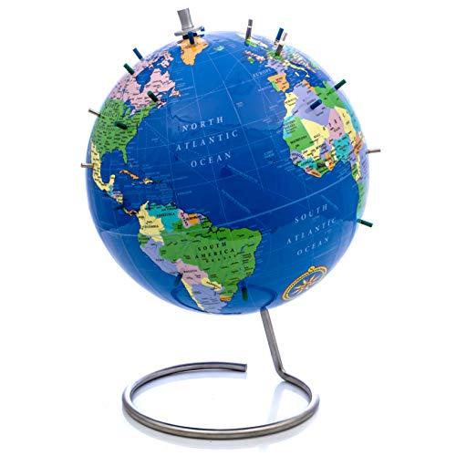 Bullseye Office - Magnetic World Globe (Lacquer Finish) - 10' Magnetic Standing World Globe with Magnetic Pins - Perfect as Office Desk Globe, Classroom Globe, or Travelers Globe (Blue)