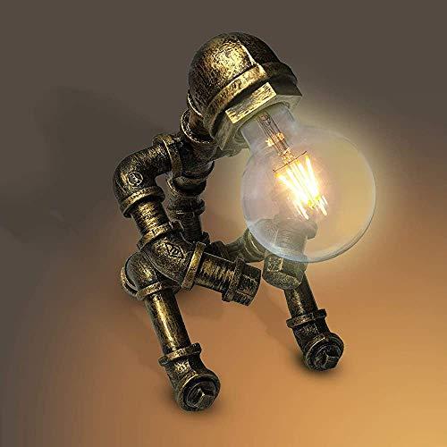 Lámpara de mesa de robot de hierro creativo Retro LED Lámpara de ahorro de energía Lámpara de tubería de agua E27 Interfaz,Copper