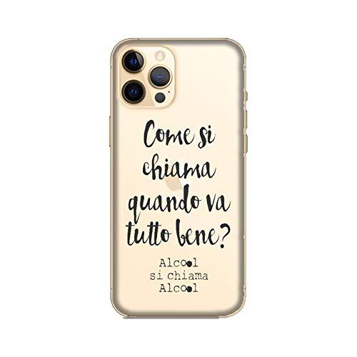 Funda iPhone 12 Pro Carcasa Apple iPhone 12 Pro Frases divertidas ¿Cómo se llama cuando todo está bien? alcohol / Cubierta Imprimir también en los lados / Cover Antideslizante Antideslizante Antia