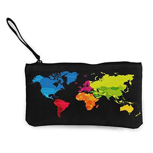 Acuarela Rainbow Atlas Mapa del Mundo para Mujer Cambio de Monedas Bolsa Multipropósito Bolsas de Aseo Cartera de Artesanía