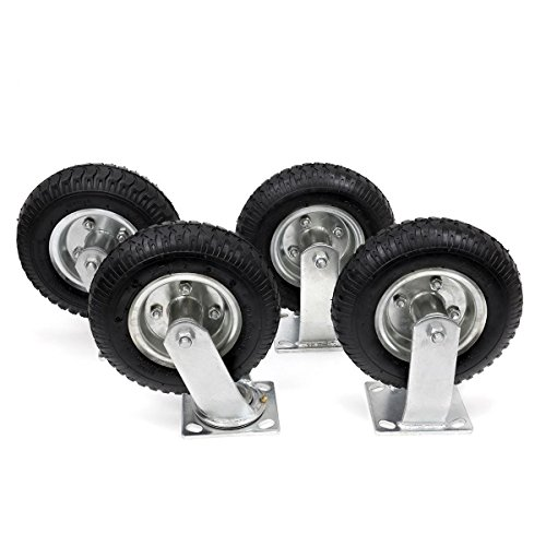 XtremepowerUS 8' Pneumatic Caster Set of (4) Large Size Tire Heavy Duty 2-Swivel / 2 - Rigid -Silver