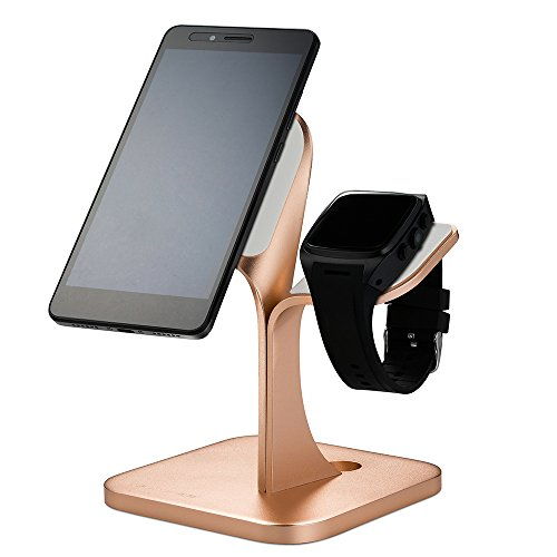 FREESOO Phone Watch Stand Mount Desk 2 in 1, Aluminum Charging Micro Suction Holder Hands Free for IPhone LG Pixel Samsung Watch Ipad Tablet(Rose Gold)