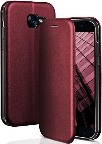 ONEFLOW® Premium Booklet mit unsichtbarem Magnetverschluss + Aufstellfunktion kompatibel mit Samsung Galaxy A5 (2017) | Exklusive Lederoptik, Wein-Rot
