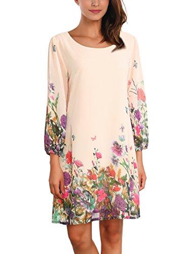 DJT Damen Brautjungfernkleid Prinzessin Blumen Muster Freizeit Kleider Apricot/Frühling Small