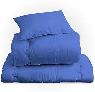 リビングプランニング 布団セット シングル 3点セット [掛け布団・敷き布団・枕] ほこりの出にくい 寝具セット 軽量 日本製 (ネイビー)