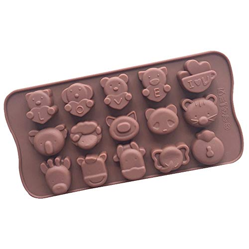 Dawwoti 15 Dierlijke liefdevorm-bakvormen 3D-silicone-taartjes, pan, chocolade, polymeer clay bakvormen - willekeurige kleur