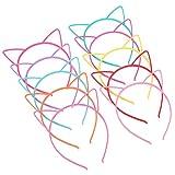 Frcolor 10pcs Fascia per orecchie di gatto, cerchietti a forma di gatto in plastica copricapo multicolore per decorazioni per costumi da festa per ragazze
