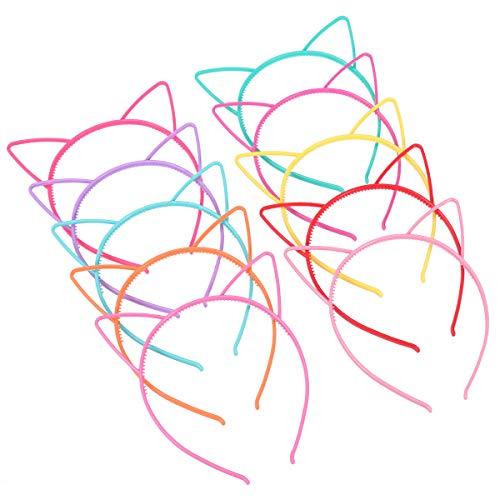 Frcolor 10pcs Katze Ohr Stirnband Plastikkatze Hairband Katze Bogen Hairbands Verfassungs Partei Headwear für Frauen Mädchen