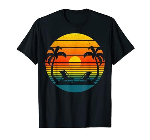 Tropical Sunset Reflectante Ocean Palm Trees Sillas de Playa Camiseta