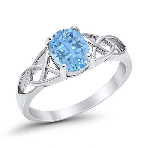 Blue Apple Co. Celtic Accent Solitaire Ring Oval Simulated Aquamarine 925 Sterling Silver, Size-11
