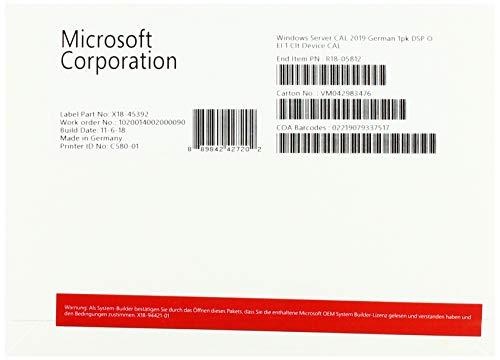 Microsoft Windows Server 2019 - Sistemas operativos (Delivery Service Partner (DSP), Licencia de acceso de cliente (CAL), 1 licencia(s), 32 GB, 0,512 GB, 1,4 GHz)