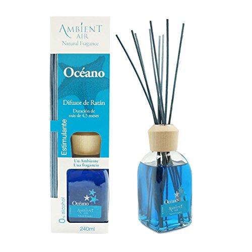 Ambientair Classic. Difusor de varillas perfumadas. Ambientador Mikado aroma Océano. Difusor 240 ml con palitos de ratán. Ambientador para Hogar sin alcohol.